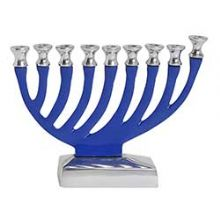 Small Aluminum Menorah - Blue