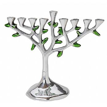 Aluminum tree Menorah with Green Leaves
