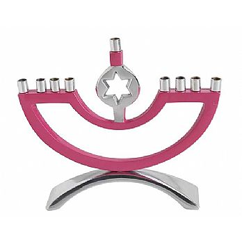 Aluminum Decorated Candle Menorah - Pink