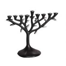 Tree of Life Aluminum Menorah - Black Emameled