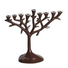 Tree of Life Aluminum Menorah - Brown Emameled