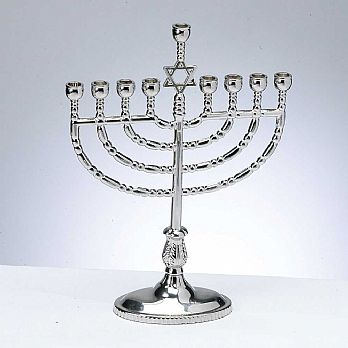 Traditional Candle Menorah - Polished Silvertone