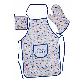 Fabric Hanukkah Hostess Set, Apron, Mit & Potholder
