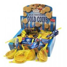 Elite Hanukkah Milk Chocolate Gelt Coins - Box 24 Sacks