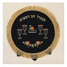 Embroidered Velvet Matzah Cover - 4 Cups