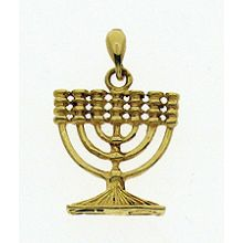 14K Large Menorah Pendant