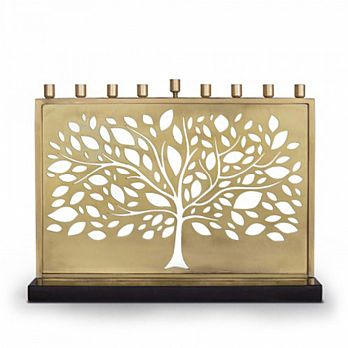 Designers Lasercut Tree of Life Brass Menorah
