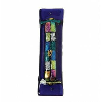 Fused Glass Mezuzah Cover - Shimmering 12 Tribes