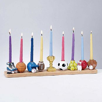 Assorted Sports Menorah Hand-painted Poly Resin
