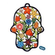 Laser Cut Wall Hanging - Hamsa with Flowers