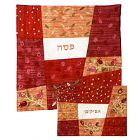 Raw Silk Matzah and Afikomen Set - Red