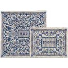 Fully Embroidered Matzah & Afikoment Bag by Emanuel - Blues