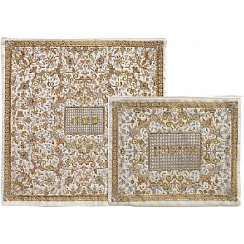 Fully Embroidered Matzah & Afikoment Bag by Emanuel - Gold/Silver