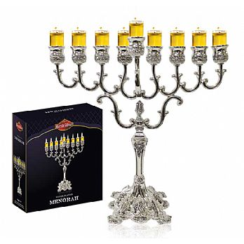 Silver Plated Traditional Oil or Candle Menorah