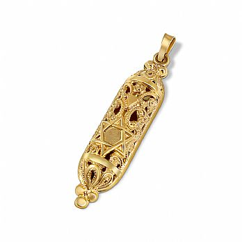 14K Gold Ornate Mezuzah Pendant