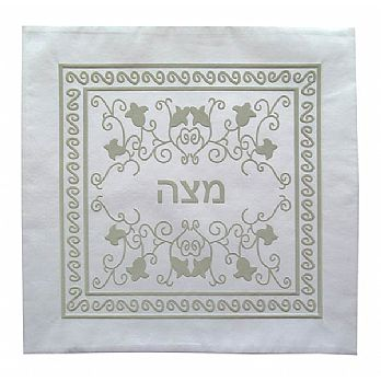Silk Matzah Cover - White/Silver