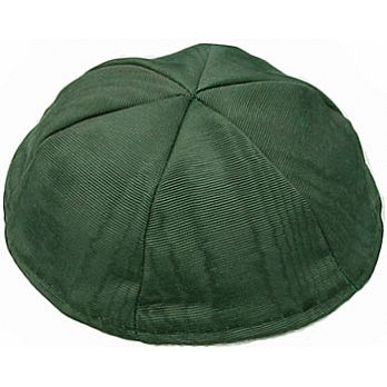 Moire Lined Kippot - Dark Green