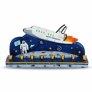 Poly Resin Space Ship Menorah - Chanukah in Outer Space