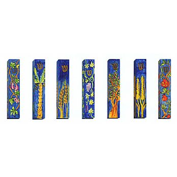 Set of 7 Mezuzah Covers - All 7 Praised Species of Israel