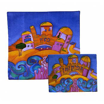 Painted Silk Matzah and/or Afikomen Bag - Split of the Sea