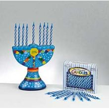 Mini Ceramic Hanukkah Menorah with Birthday Candles