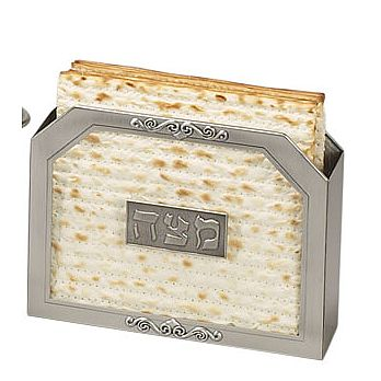 Pewter & Glass Matzah Holder