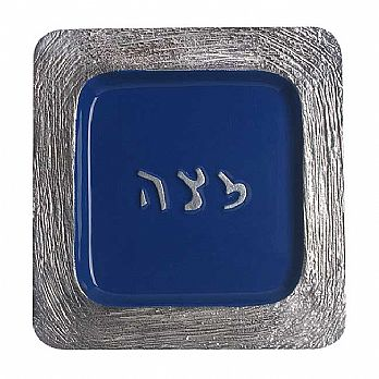 Aluminum Matzah Plate With Enamel - Blue