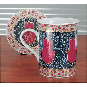 Coffe Mug with Coaster - Hamsa