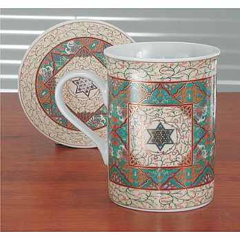Coffe Mug with Coaster - Jewish Star
