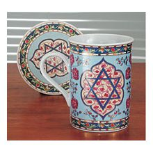 Coffe Mug with Coaster - Blue Star