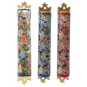 Metal Mezuzah Covers Etched Design - Pomegranates