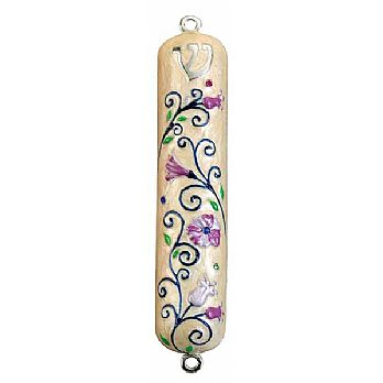 Mezuzah Cover Flowery Design with Rhinestones