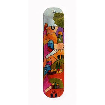 Rounded Wooden Mezuzah Cover - Jerusalem with Dove of Peace