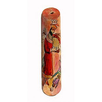 Rounded Wooden Mezuzah Cover - David and His Harp