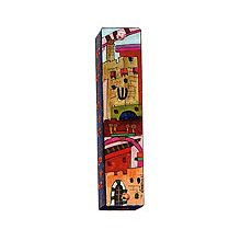 Square Wooden Mezuzah Cover - Jerusalem in Color