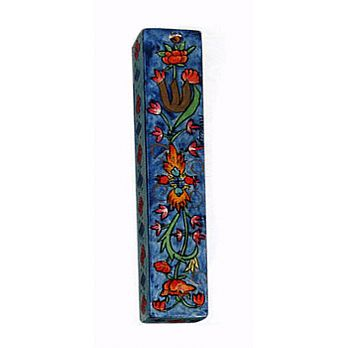 Square Wooden Mezuzah Cover - Floral
