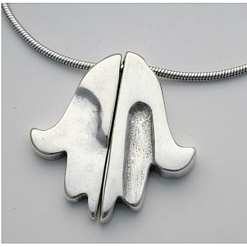 Sterling Silver Hamsa & Chai Necklace