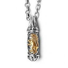 Sterling Silver Mezuzah Necklace with 14K Gold Lion of Judah