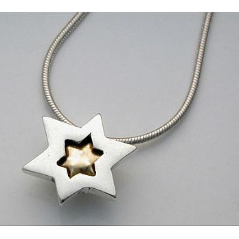 Sterling Silver Necklace Filled with 18K Gold
