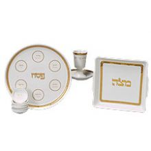 Complete Porcelain Seder Set - Classic Gold/White