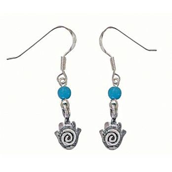 Sterling Silver Hamsa Earrings W/Turquoise