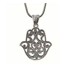 Sterling Silver Hamsa Necklace - Filigree