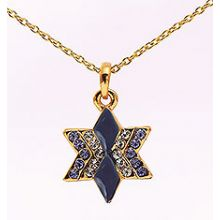 Gold Plated Star of David Necklace With Blue Stones