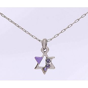 Silver Plated Star of David Necklace With Purple Stones