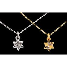 Silver or Gold Plated Star of David Necklace With Stones