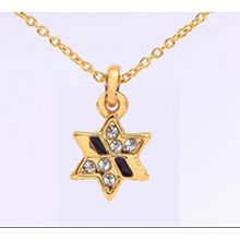 Gold Plated Star of David Necklace With Black Stones