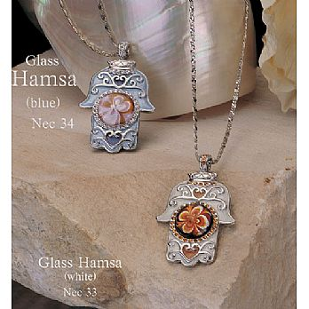 Hamsa Necklace - Hand Blown Glass