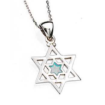 Sterling Silver Star of David Necklace - Opal Stone