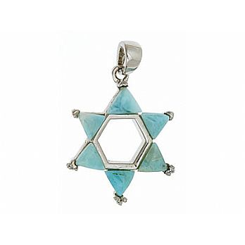 Sterling silver Star of David Necklace with Larimar Stone
