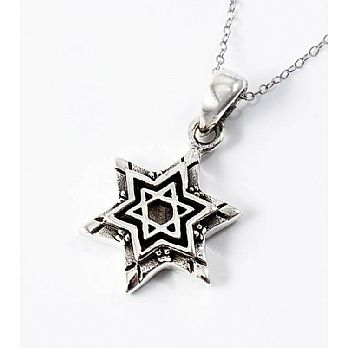 Sterling Silver Star of David Necklace - Double Star